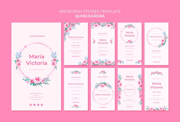 Quinceañera instagram stories template