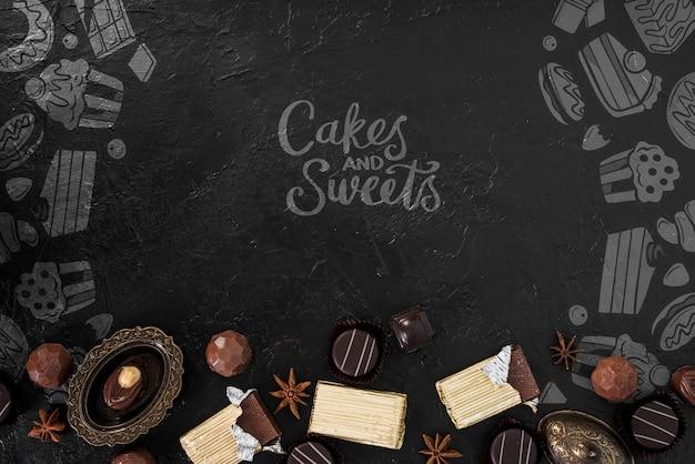 Rabiscos de bolos e doces com doces