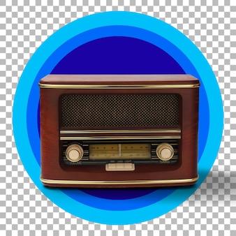 Rádio antigo tradicional vermelho escuro preto sobre transparência
