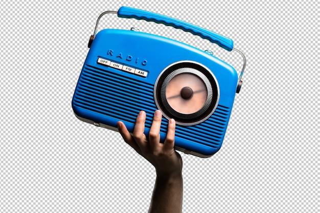 Rádio vintage azul isolado