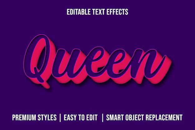 Rainha - maquete de efeitos de texto 3d premium psd