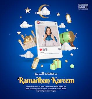 Ramadã islâmico kareem cumprimentando maquete de postagem nas redes sociais Psd Premium
