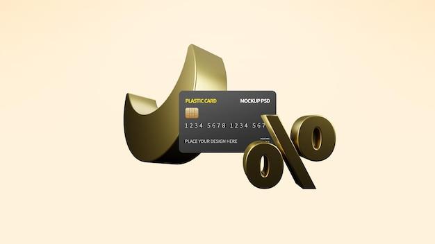 Ramadan e eid sale 3d render com plastic card mockup