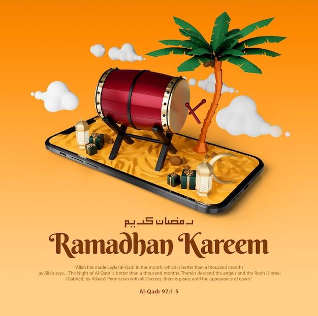 Ramadan islâmico kareem cumprimentando postagem no instagram de mídia social e banner com modelo de ilustração 3d