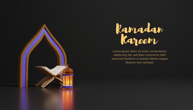 Ramadan kareem fundo 3d com lâmpada e fundo escuro