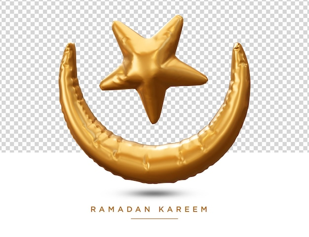 Ramadan kareem moon e star renderização 3d