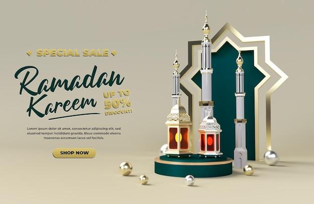 Ramadan kareem promoção de venda 3d desconto feriado islâmico eid celebração render