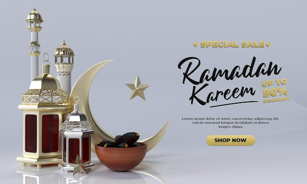 Ramadan kareem renderização 3d simples e realista para postagem de celebração e promoção
