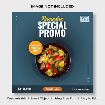 Ramadan promoção especial comida desconto menu promoção mídia social instagram post banner modelo