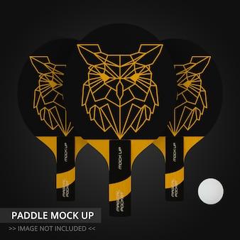 Raquete de tênis de mesa mock up - três remos
