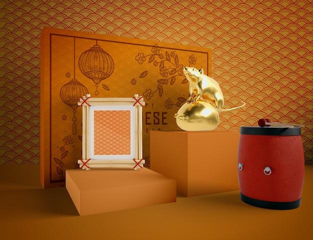 Rato de ano novo chinês de ouro