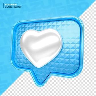 Reação do coração do facebook azul de novembro em 3d renderização para composição