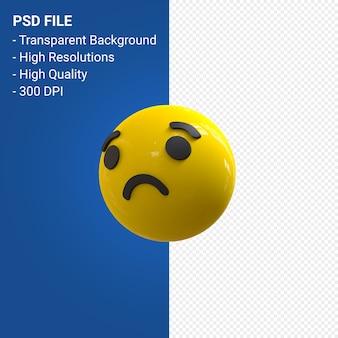 Reações de emoji 3d do facebook tristes isoladas
