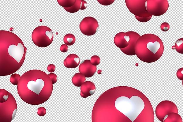 Reações do facebook emoji de coração 3d render