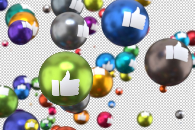 Reações no facebook como emoji render 3d, ícone de balão de mídia social com como