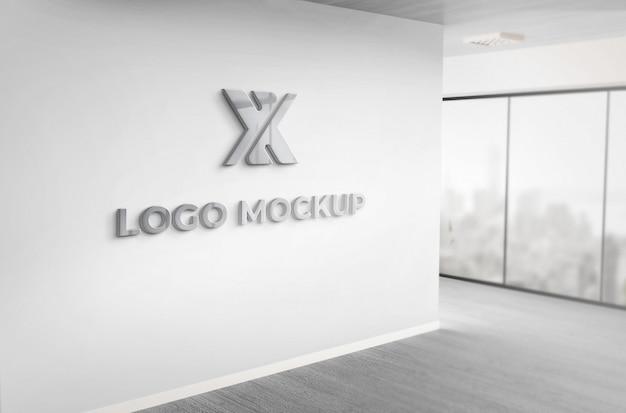 Realista 3d cinza escuro logotipo maquete escritório parede