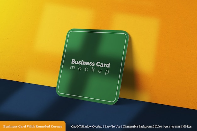 Realista 3d renderizado cartão único com modelo de maquete de canto redondo