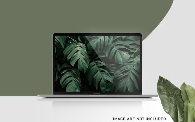 Realistic premium notebook de 15 polegadas pro para web, interface do usuário e aplicativo simulado na vista frontal