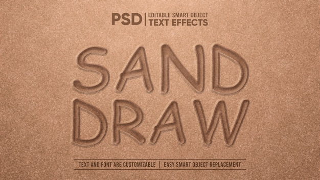 Realistic sand draw efeito de texto editável em 3d