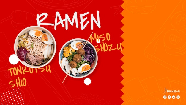Receita de ramen para restaurante japonês oriental asiático ou sushibar