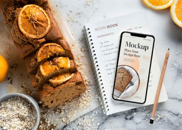 Receita doce saudável com maquete de smartphone