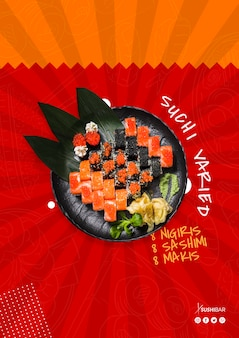 Receita variada de sushi com peixe cru para restaurante japonês asiático