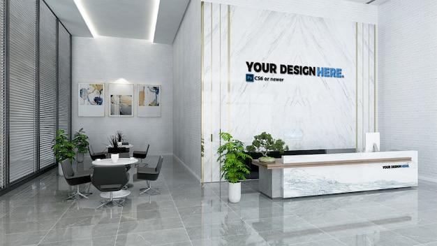 Recepção de escritório de negócios simulada