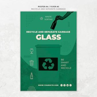 Reciclar e separar modelo de pôster de lixo