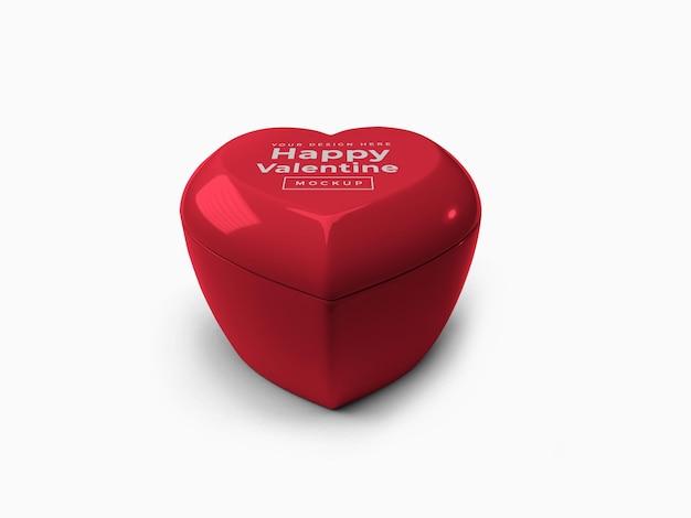 Recipiente de coração de amor dos namorados com design de maquete de tampa isolado