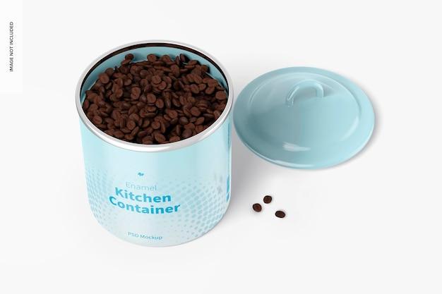 Recipiente de cozinha esmaltado com maquete de grãos de café