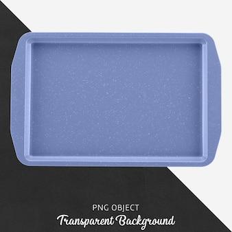Recipiente de forno retangular azul ou bandeja em fundo transparente
