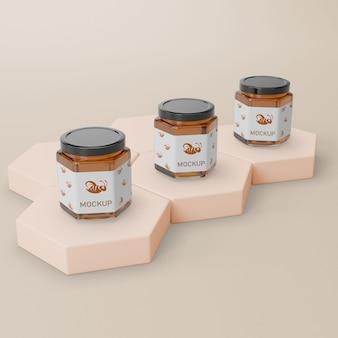 Recipiente jar com maquete de mel