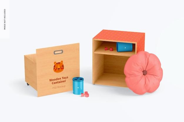 Recipientes de brinquedos de madeira com rodas e maquete de travesseiro