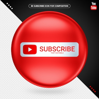 Red elipse 3d youtube subscribe