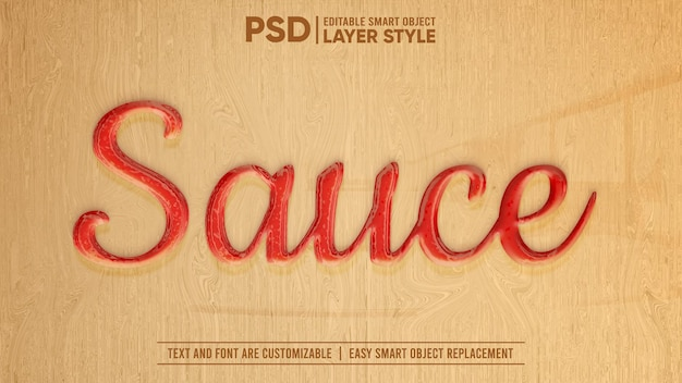 Red tomato hot chilli sauce ketchup editable layer style smart object text effect