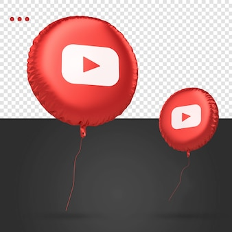 Rede social do ícone do balão 3d do youtube
