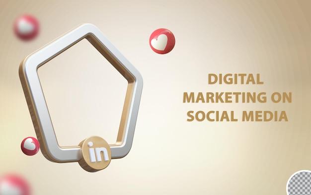 Redes sociais 3d linkedin com maquete de quadro