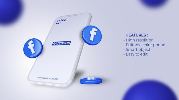 Redes sociais de ícones 3d do facebook com maquete de telefone celular