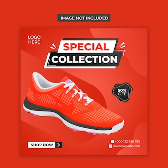 Redes sociais de sapatos especiais e modelo de postagem no instagram