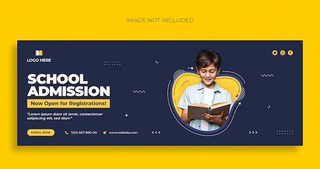 Redes sociais educacionais e design de modelo de capa do facebook