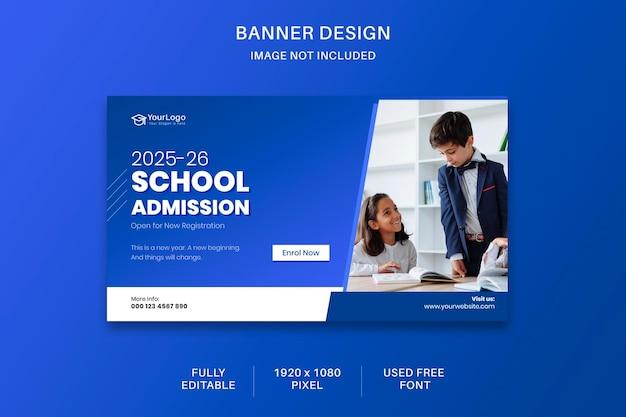Redes sociais para admissão escolar design de modelo banne para mídia digital