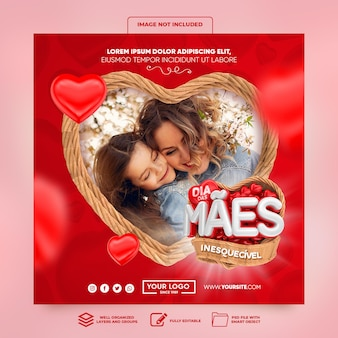 Redes sociais postar banner no instagram dia das mães no brasil com cesta e corações 3d render