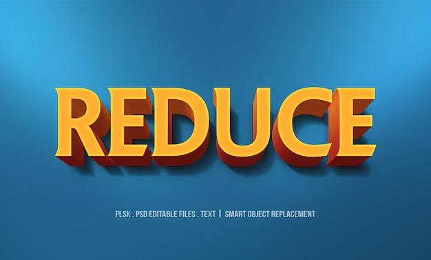 Reduzir maquete de efeito de estilo de texto 3d