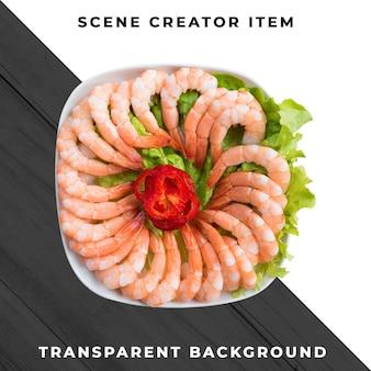 Refeição de frutos do mar transparente psd