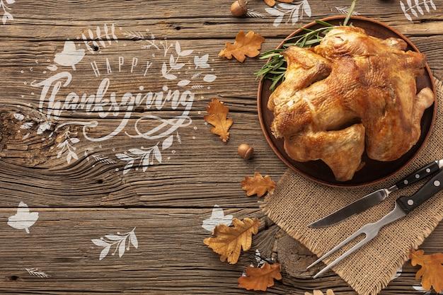 Refeição tradicional de peru no dia de ação de graças