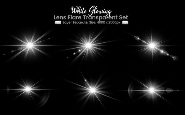 Reflexo de lente branco com coleção abstrata de luzes de lente