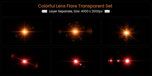 Reflexo de lente colorido realista com coleção abstrata de luzes de lente