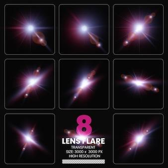Reflexos de lente coloridos definir luzes de lente coleção premium psd