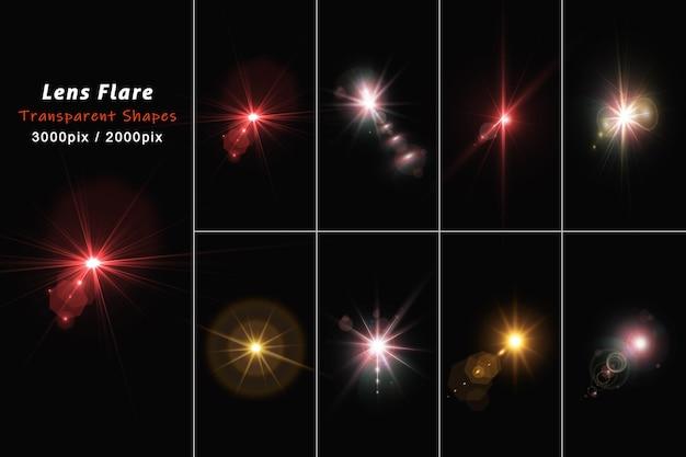 Reflexos de lente coloridos realistas e conjunto de luz isolados