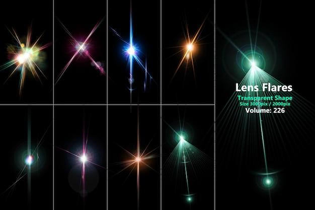 Reflexos de lente e conjunto de cores realistas e leves isolados